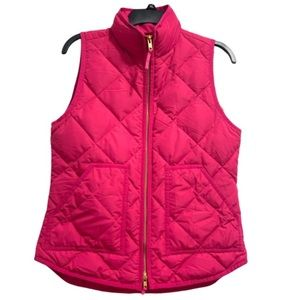 J. Crew Factory Pink Quilted Puffer Vest Sleevless